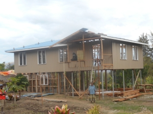 Nearing completion: 5m x 17m timber framed double classroom for Kondipena Elementary school in Dei District, Western Highlands Province.