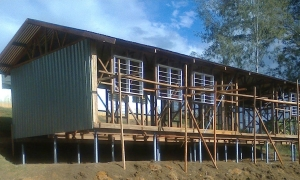 Under construction - double classroom for Kondipena Elementary School, Dei District, Western Highlands Province.