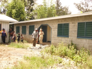 Double classrooms with central office. Concrete block construction