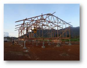 Prefab trusses assembled on site onto prefab wall frames